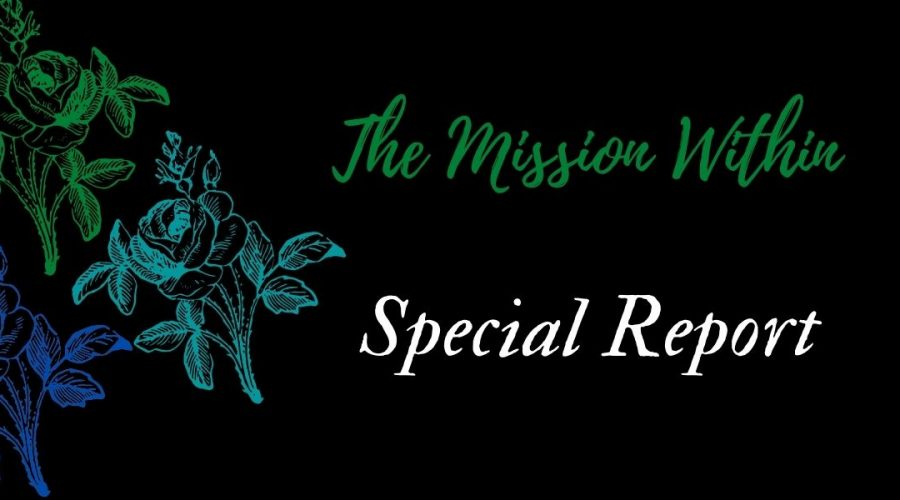 A decorative image with a black background, blue and green flowers on the left that says The Mission Within Special Report.
