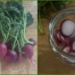 A bunch of radishes sits on a wood cutting board in the image on the left in the collage. The radishes are sliced up and placed in a repurposed jar for later in the photo on the right.