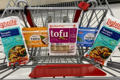 Packages of tofu sit in a grocery cart seat, with a package of tempeh on the far left and right sides.