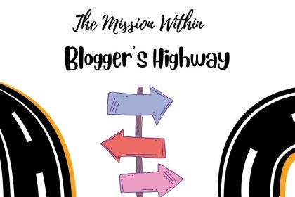 """A decorative image for the """"Blogger's Highway"""" series that has two cartoon renderings of highway roads going different directions, and directional signs in the middle in pink, purple, and red."""
