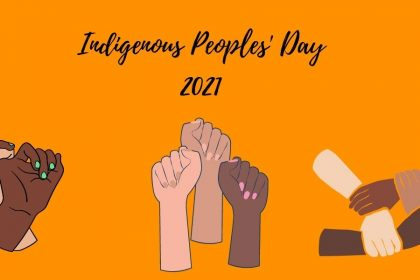 """A decorative image depicting an orange background in honor of the residential school victims and survivors, sketched hands in different skin colors, and """"Indigenous Peoples' Day 2021"""" at the top of the image in script letter font."""